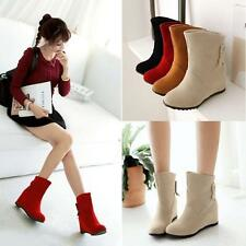 Women's Pull On Bowknot Hidden Wedge Heels Cute 4 Colors Ankle Boots Shoes 0007