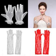 Ladies Elegant Lace Gloves Wedding Party Prom Short/Long Ball Gloves White/Red