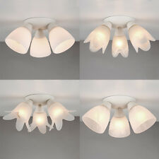 Modern 3 Way Round Flush Cream / Glass Lamp Shades Ceiling Light Fitting Lights