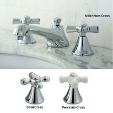 Chrome Widespread Bathroom Faucet with Cross Handles
