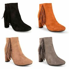 Womens Ladies Faux Suede Fringe Tassel Block High Heel Zip Up Ankle Boots Shoes