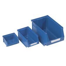 Blue Plastic Parts Bins Storage Tool Stackin Containers Home DIY Shelving Boxes