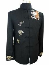 Chinese Men's Dragon Cotton Linen kung-fu Jacket tai-chi Coat M L XL XXL XXXL