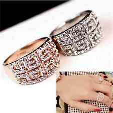18K White Gold Plated Cubic Zirconia Crystal Wedding Engagement Promise Ring CZ