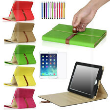 Luxury Soft Premium Leather Button Belt Smart Cover Folio Case For iPad 4 3 2