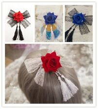 Rose Lace Girls Tassel Fabric Hair Clip Retro Brooch Gothic Lady Hair Accessory