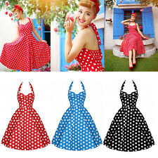 Retro Jive Polka Dot Swing 1950s Housewife Pinup Vintage Rockabilly Halter Dress