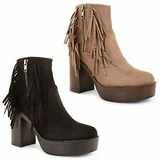 New Ladies Womens Platform Block High Heel Zip Up Chelsea Ankle Boots Shoes Size
