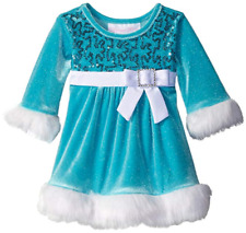 Bonnie Jean Girl Frozen Blue Fur Christmas Holiday Pageant Santa Dress 3M 6M 9M