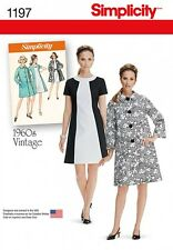 Simplicity Ladies Sewing Pattern 1197 1960's Vintage Style Dress & Coat (...