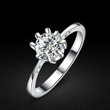 Genuine Solid Sterling Silver Clear CZ 8-Claw Lady's Ring Size 5 6 7 8 PR082
