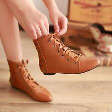 Womens Rivet Pointed Toe Lace up Flat Heel Lace Up Winter Warm Ankle Boots Shoes