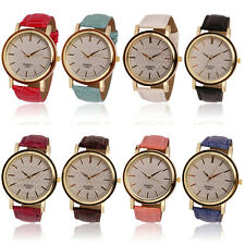 Womens Ladies Fashion Roman Golden Dial Leather Analog Quartz Watch *Womens Gift