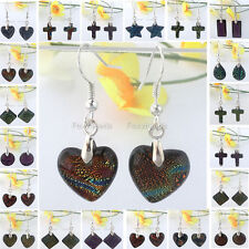 Pair Colorful Heart Round Dichroic Foil Lampwork Glass Bead Dangle Hook Earring