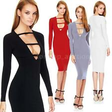 Fashion Women's Deep V-Neck Front Strap Party Midi Party Bodycon Dress Hot 4YV9