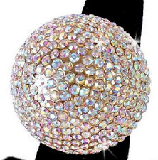 HUGE *ALL COLORS* SILVER PINK GOLD Pave Crystal BALL Statement Cocktail Cz Ring
