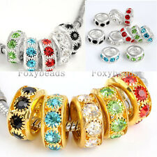 5X Gold/Silver Plated 8MM Hole Crystal Spacer Bead fit European Charm Bracelet