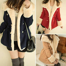Hot Korean Winter Warm Women Coat Double-Breasted Wool Blend Jacket Thick Coat