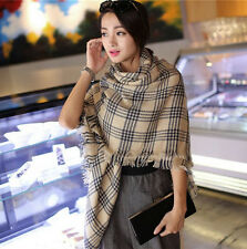 Wool Blend Oversize Blanket Tartan Scarf Wrap Shawl Plaid Cozy Checked Pashmina
