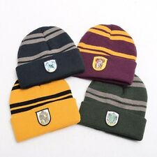Harry Potter Badge Hat Gryffindor/Hufflepuff/Slytherin/Ravenclaw Striped Beanie