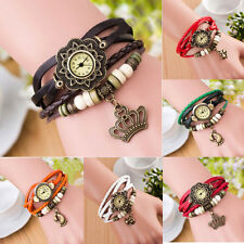 Weave Wrap Around Anaglog Quartz Vintage Leather Bracelet Woman Lady Wrist Watch