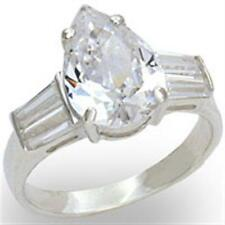 Silver Pear Cut Engagement Ring Cubic Zirconia Sterling 925 Size 7 8 9 10 USA