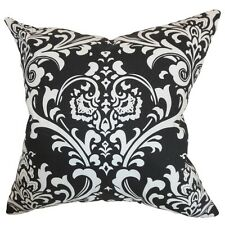 Malaga Damask Black Feather Filled 18-inch Throw Pillow
