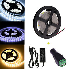 5M SMD 300 LED White Waterproof Flexible Strip Light+Adapter+DC 3528/5050/5630
