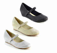 DOTTY SUGARY-FG Children's Girls Low Wedge Heel Trendy Glitter Mary Jane Shoes