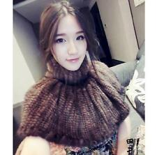 100%Real Genuine Vintage Mink Fur Knitted Poncho cape coat shawl stole clothingC