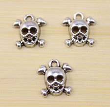 30/60/100 pcs Very lucky Hollow out skull Tibet silver charm pendant 24x13 mm