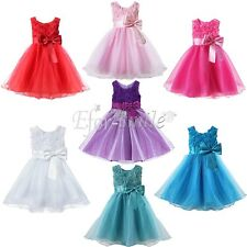 Flower Girl Dress  Kids Baby Rose Bow Wedding Bridesmaid Party Commmunion Gown