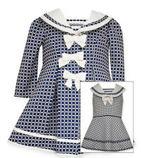 Bonnie Jean Toddler Girls Navy Sailor Nautical Dress & Coat Set 2T 3T 4T New