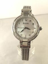 Women's Bulova 96R177 Stainless Diamond Case MOP Diamond Accented Dial Watch