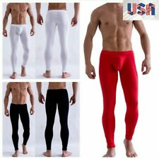 Men's Smooth Low Rise Bulge Pouch Long Johns Thermal Pants Underwear Leggings