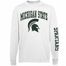 Youth Michigan State Spartans White Distressed Arch & Logo Long Sleeve T-Shirt