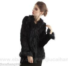100% Real Knitted Rabbit Fur Raccoon Trim Collar Coat Outwear Jacket Women Fur