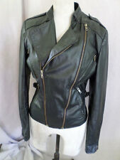 WILSONS LEATHER fitted cropped slim black vintage motorcycle biker jacket 34