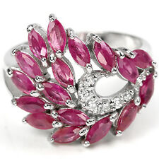 GENUINE AAA RED PINK RUBY MARQUISE & WHITE CZ STERLING 925 SILVER RING SIZE 9