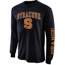 Mens Syracuse Orange Navy Blue Arch & Logo Long Sleeve T-Shirt - College