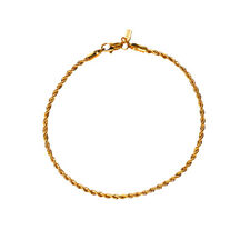 18K Gold Plated Rope Chain Anklet / Ankle Bracelet - LIFETIME WARRANTY