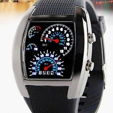 NEW Blue & White Sports RPM Turbo Flash LED Car Speed Meter Dial Watch Men Gift