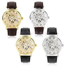 Mens Skeleton Dial Wrist Watch Faux Leather Strap Sport Casual Roman Numerals