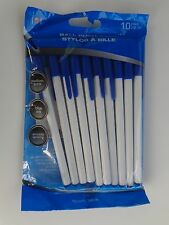 10 JOT Ball Point Pens ~ BLUE Color Ink ~ Medium Point ~ Smooth Writing w/ Caps