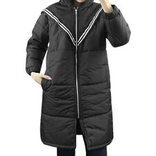 Women Hooded Slant Pockets Striped Tunic Padded Coat