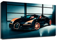 Orange Bugatti Veyron Sports Car Premium Framed Canvas Art Print