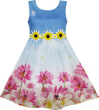 Girls Dress Sunflower Bubble Lily Flower Garden Print Blue Size 4-12