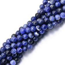 "Natural Round Smooth Blue Sodalite Gemstone Beads 15"" 4mm 6mm 8mm Jewelry Making"
