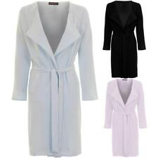 Ladies Lightweight Open Front Tie Waist Belted Women's Textured Jacket Coat