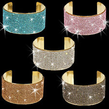 15-Line BLING Gold Pink Hematite Turquoise Pave Crystal Cuff Bangle Bracelet
